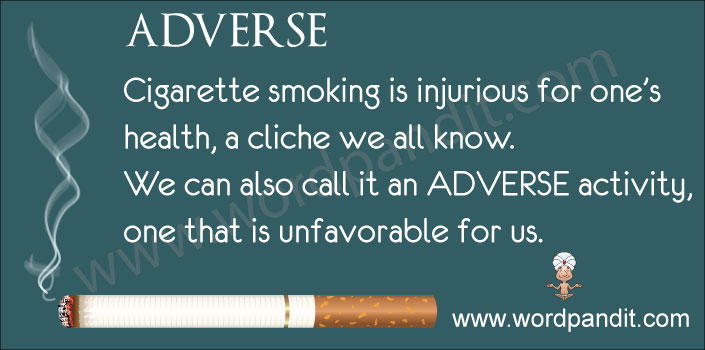 picture vocabulary for adverse